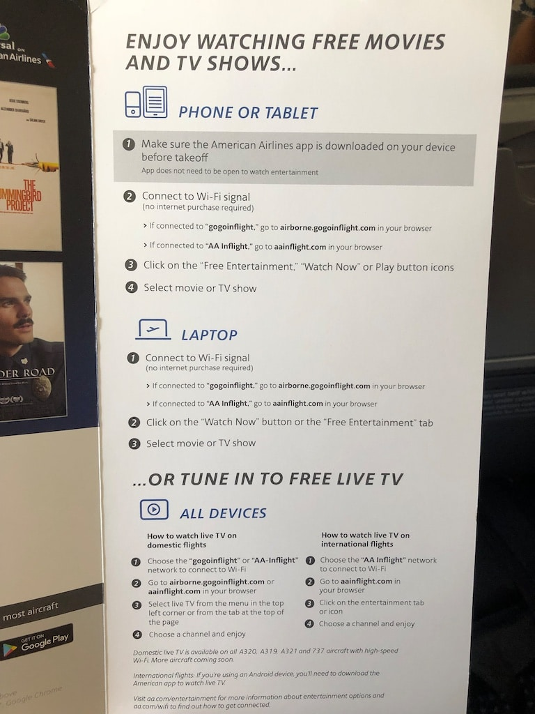 Instructions on how to connect in-flight entertainment.