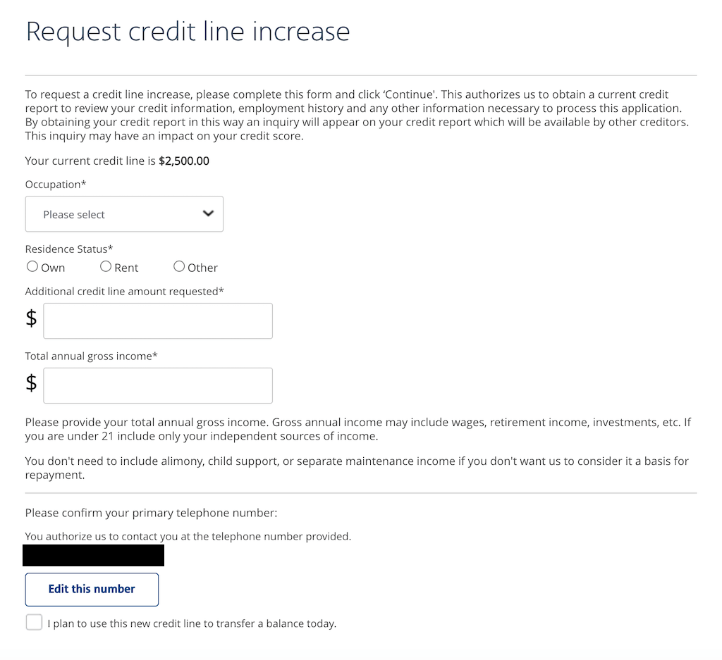 Barclays online credit limit increase form.