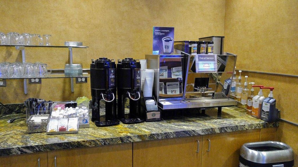 Coffee area at an Alaska Lounge.