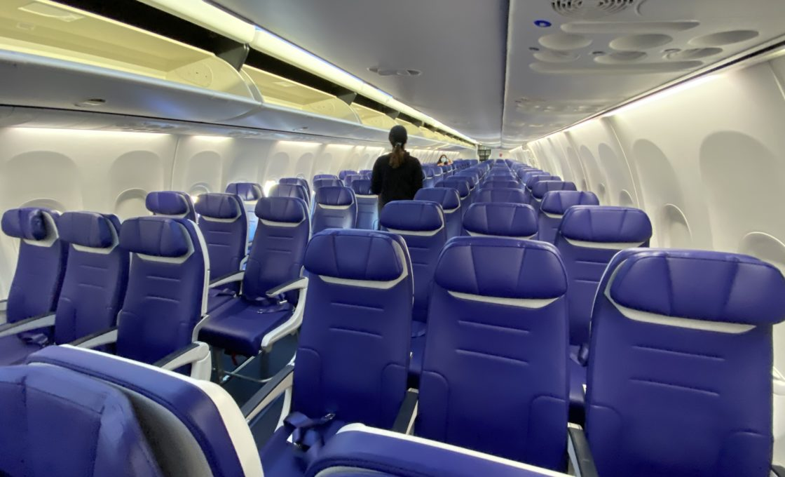 Southwest Airlines seats.