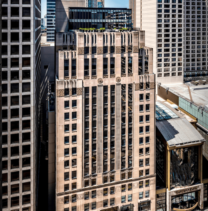 The Exterior of The Gwen, a Luxury Collection Hotel, Michigan Avenue Chicago.