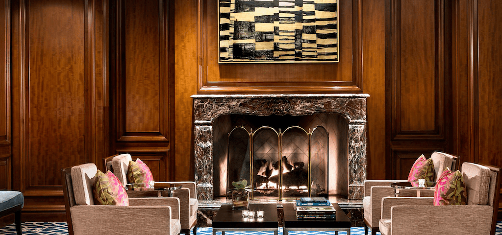 Seating area and fireplace at The Ritz-Carlton, St. Louis.