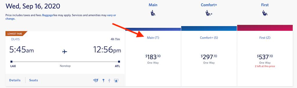 Search results showing economy fare.