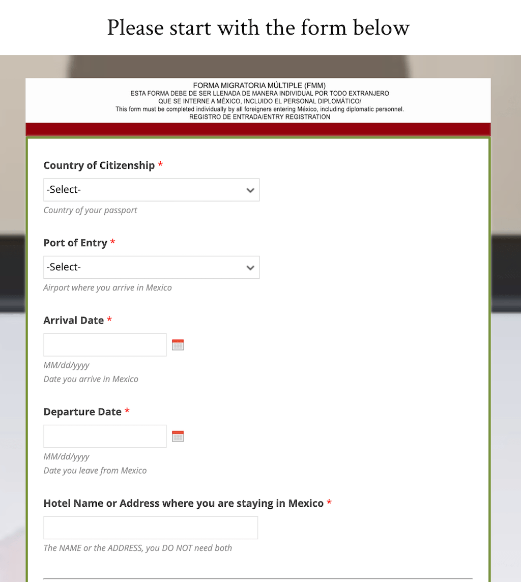 Form for Mexican tourist card.