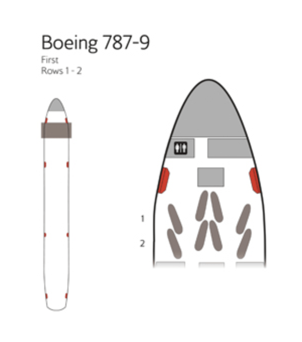 A seat map of the 787 first class cabin.