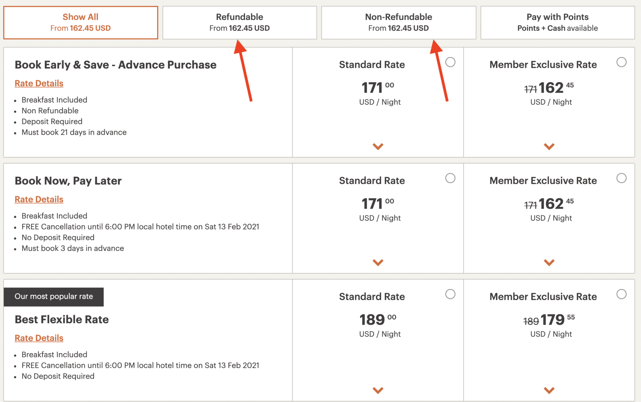King menu showing different types of cancellation rates.