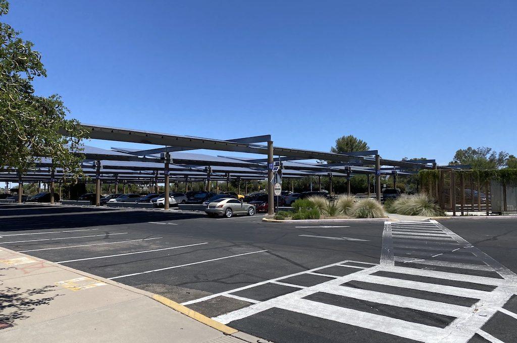 Parking lot with crosswalk