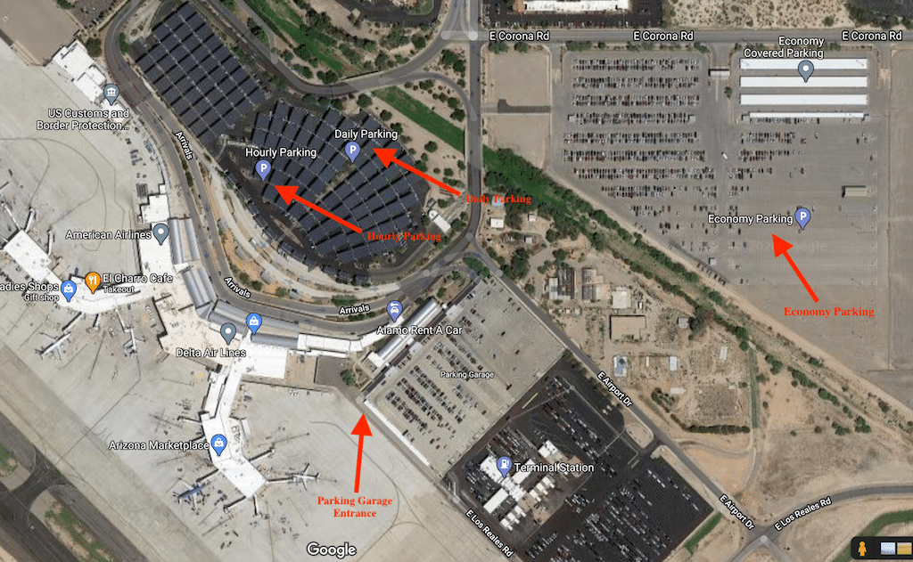 Map of Tucson airport parking areas.