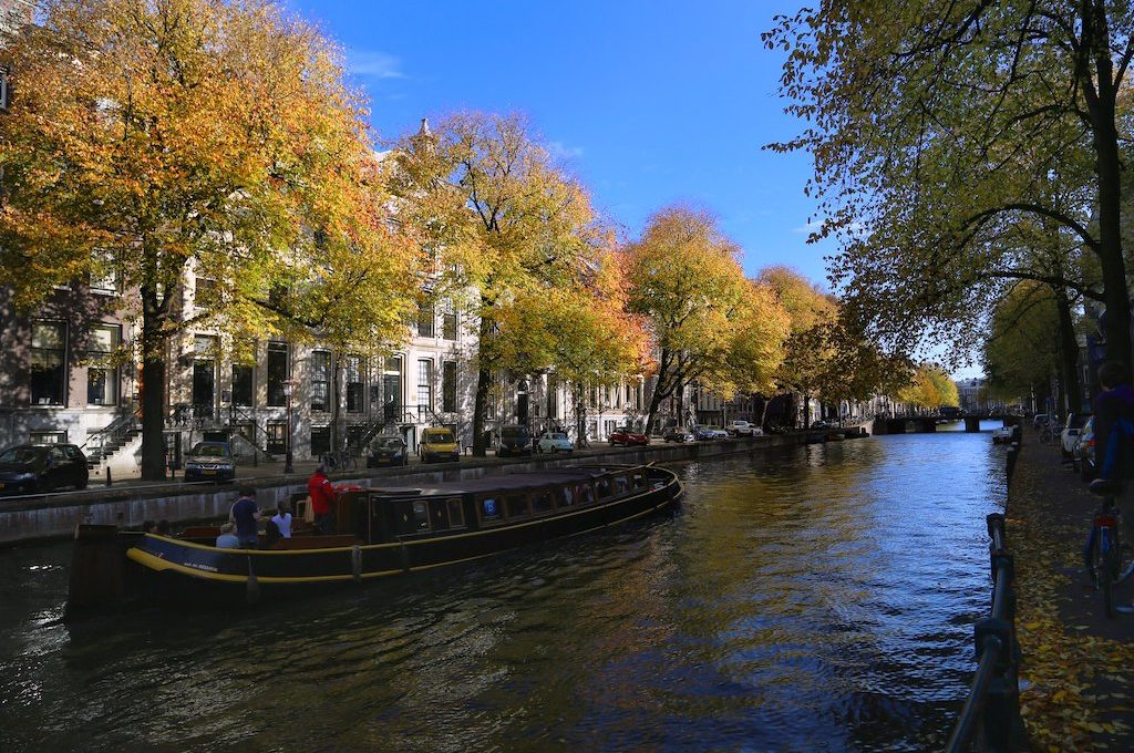 Boat in canal Amsterdam