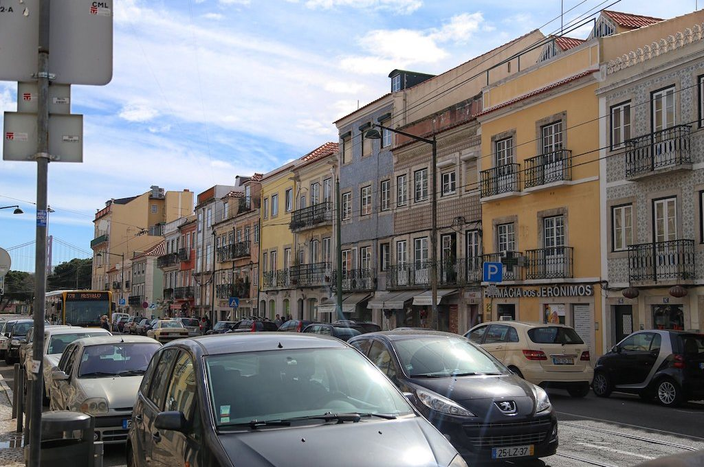 Busy street at Lisbon Portugal