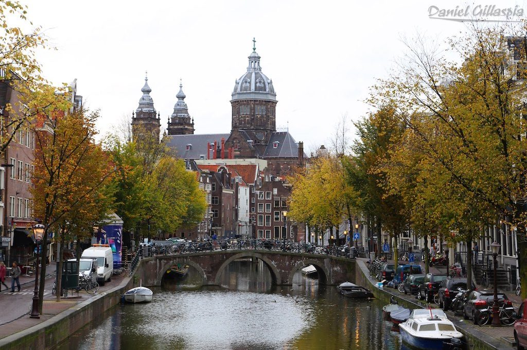 Canal and church in Amsterdam