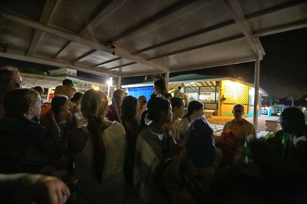 Crowded boat at night