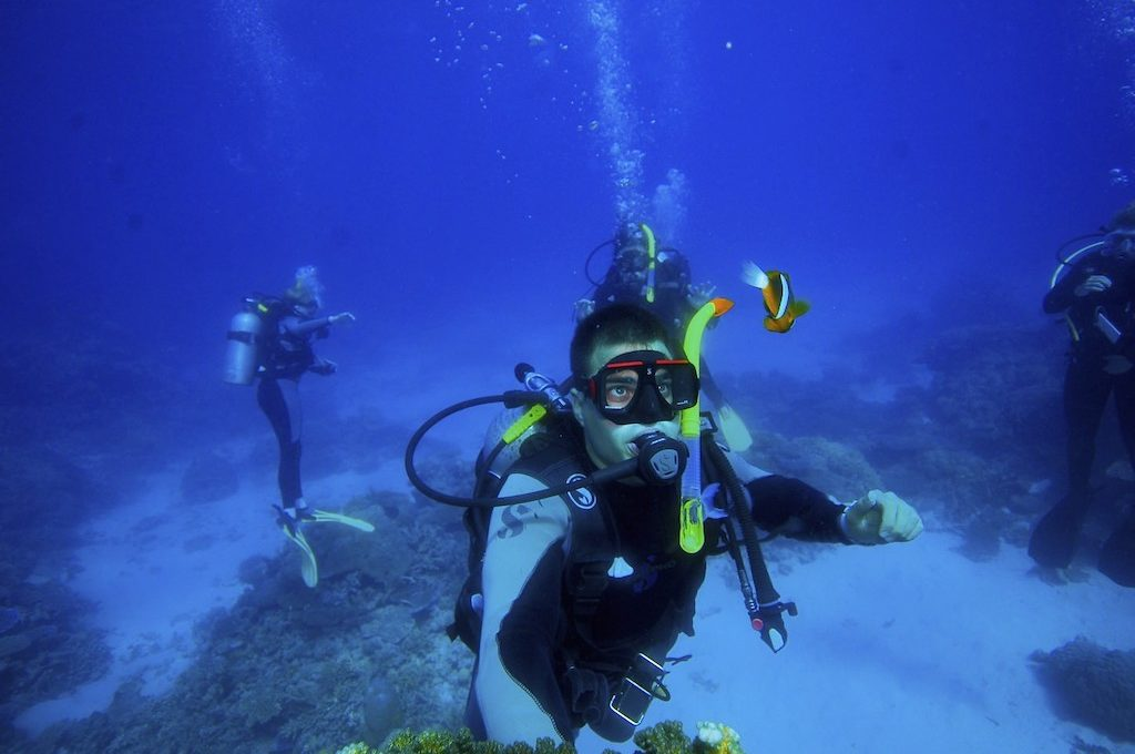 Great Barrier Reef Australia scuba diver with clown fish