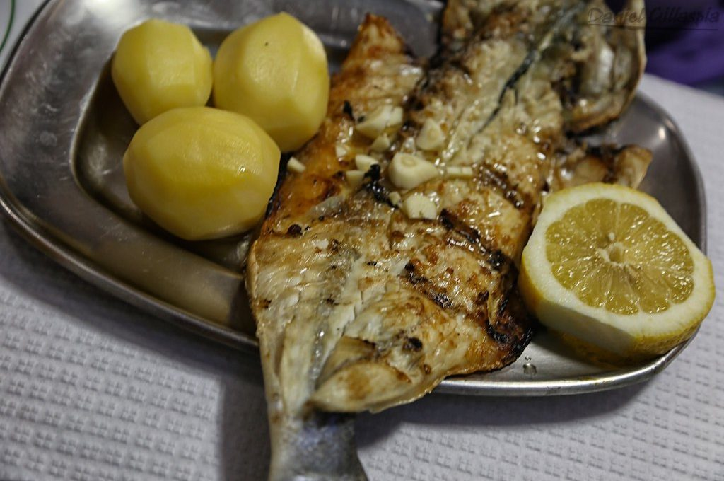Grilled seabass with potatoes