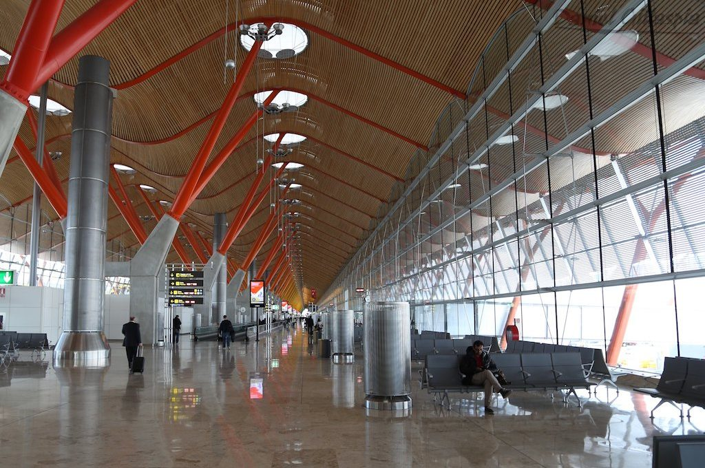 Inside Terminal 4 at Barajas Airport in Madrid