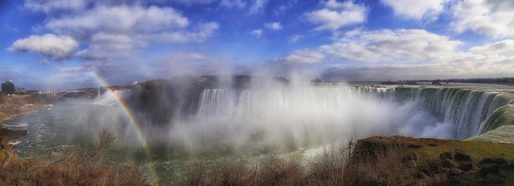 Niagara Falls Panoramic with rainbow