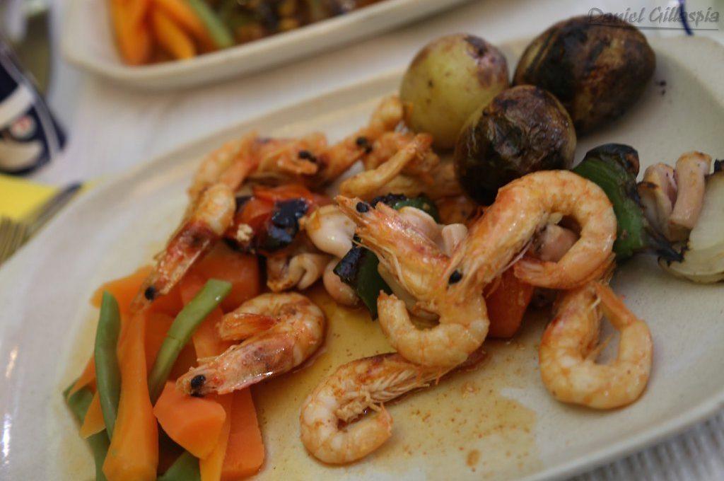 Shrimp and squid kebab at Algarve Portugal