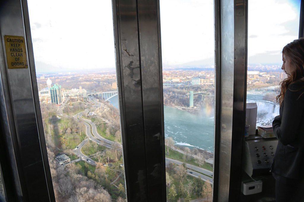 Skylon tower elevator view