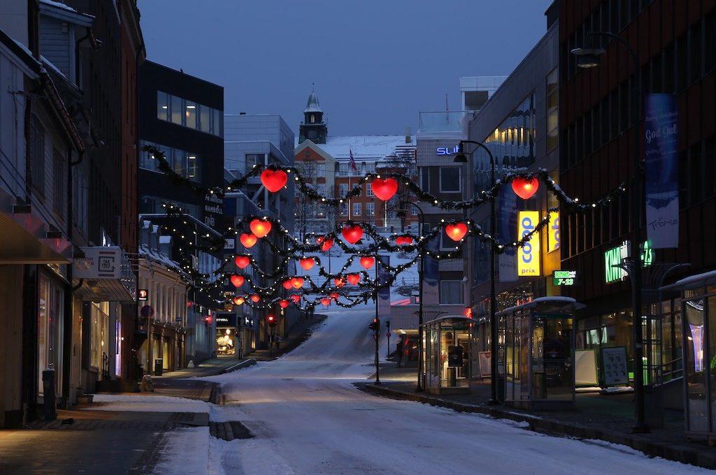Snow covered street Tromso Norway