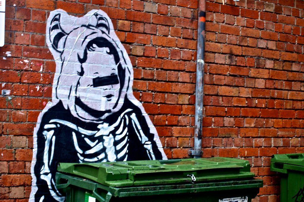 Street art brick wall Melbourne Australia
