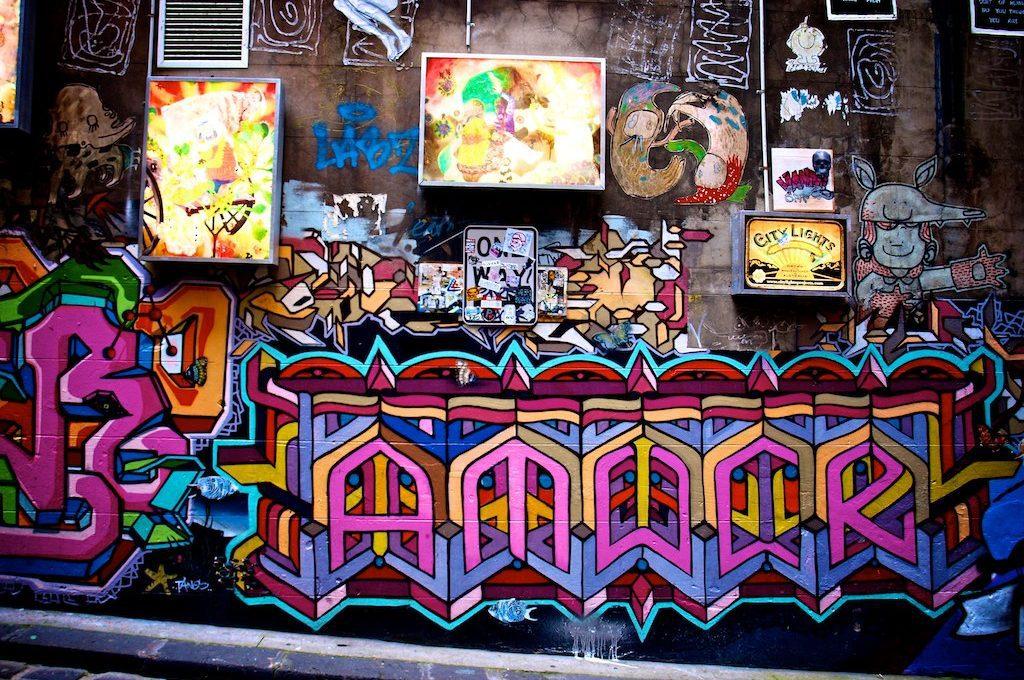 Street art wall Melbourne Australia