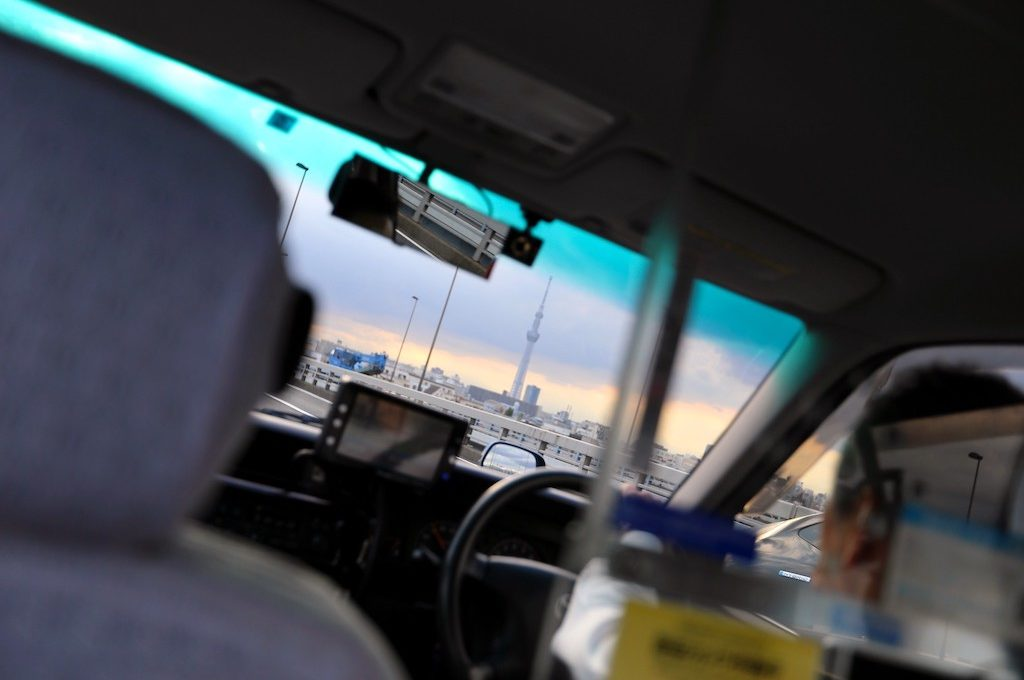 Tokyo Skytree from taxi