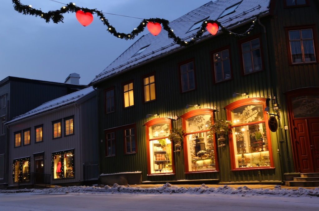 Winter Christmas decorations Tromso Norway