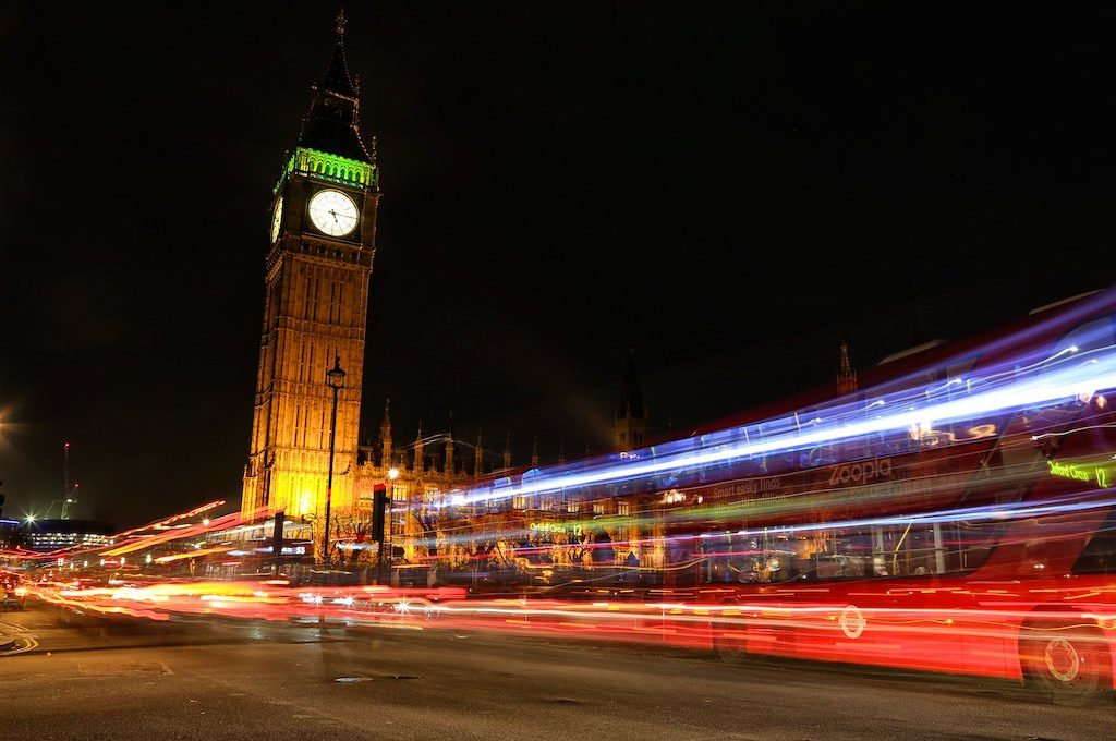 Big Ben at night London busses