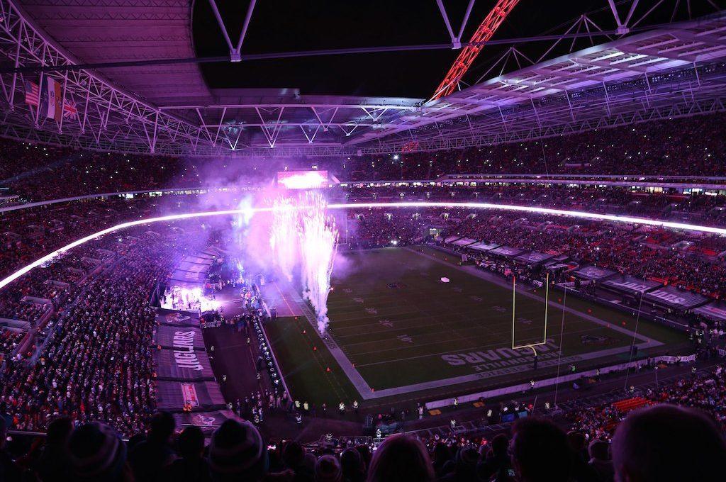 Fireworks at Wembley Stadium field London