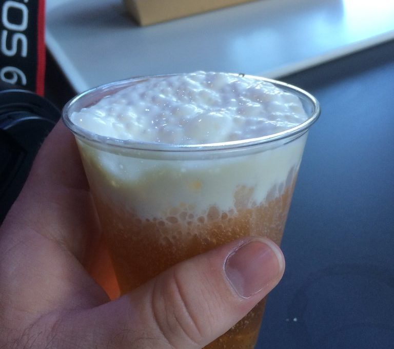 Foamy butterbeer at the Harry Potter Studio Tour London
