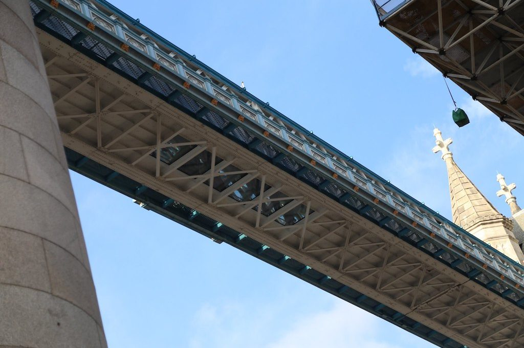 Glass walkway from under Tower Bridge