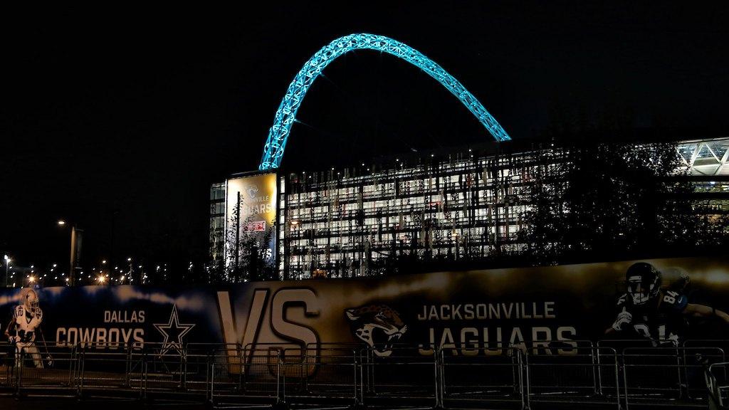 Outside Wembley Stadium London NFL
