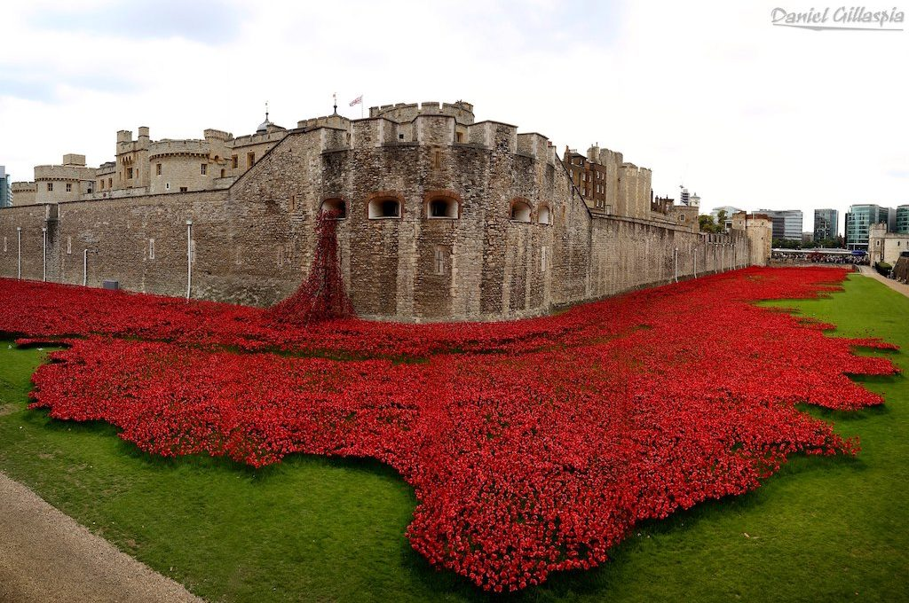 Panoramic of the Tower of London during the 100 year commemoration of WWI