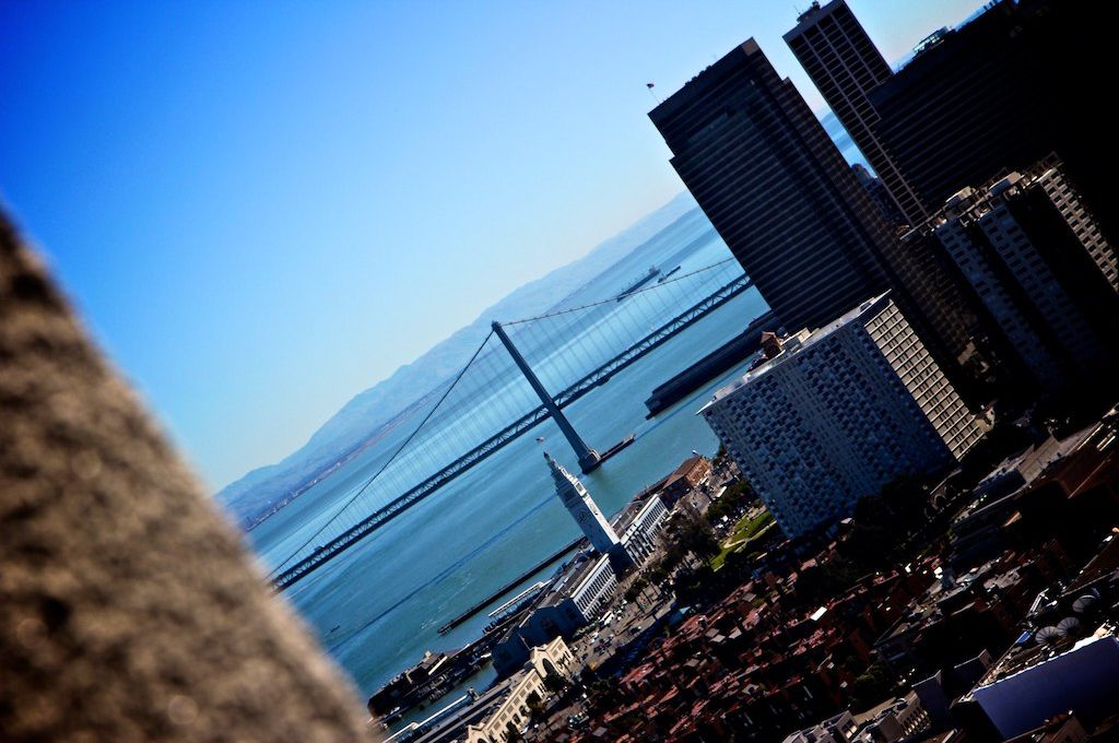 The Bay Bridge seen from Coit Tower