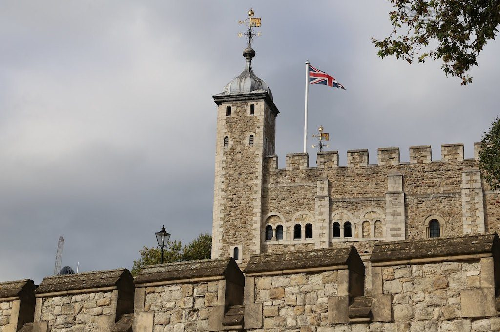 The White Tower looming over castle walls