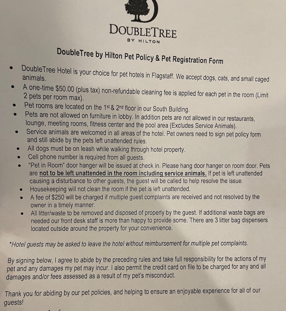 Hotel pet policy form