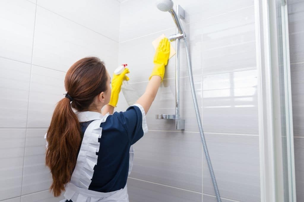 Housekeeping cleaning shower