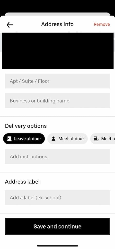 Uber eats delivery instructions