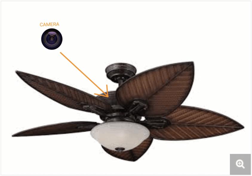 Hidden camera in ceiling fan