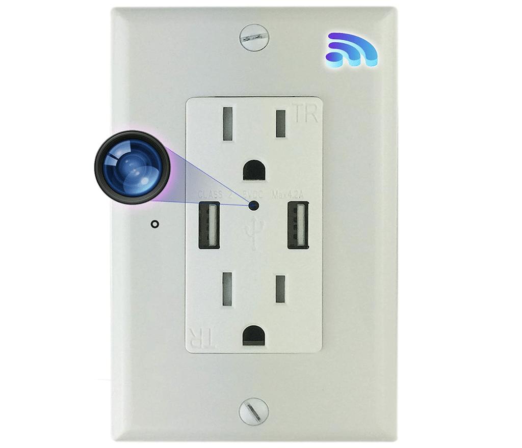 Hidden camera in outlet