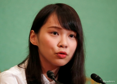 Hong Kong's pro-democracy activist Agnes Chow attends a news conference at Japan National Press Club in Tokyo, Japan June 10, 2019.  REUTERS/Issei Kato