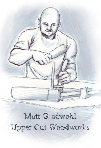 Pencil Sketch of Matt from Upper Cut Woodworks at the Bench from fiverr.com
