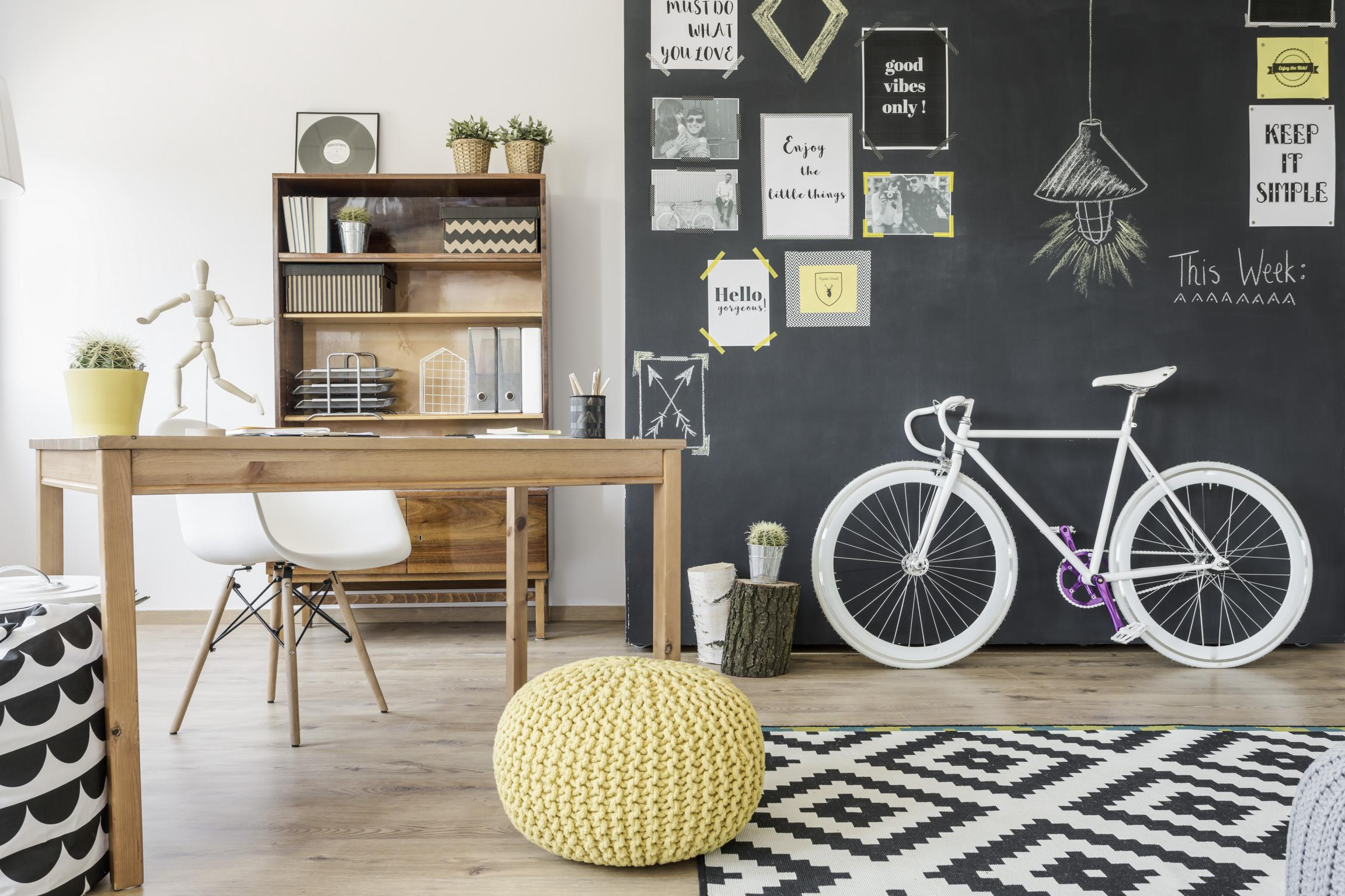 Chair Bike Modern Home Space With Chalkboard Wall Bike Pouffe Pattern
