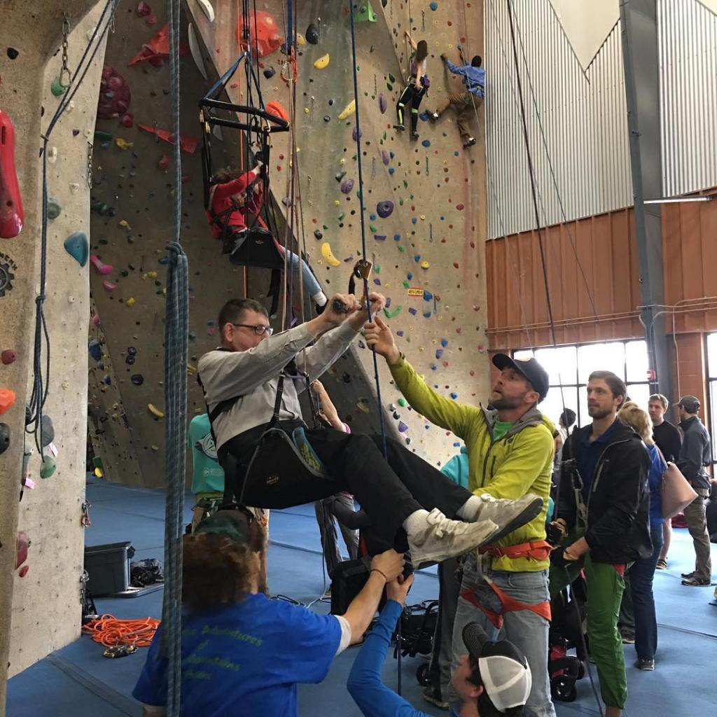 Are you interested in helping out with #adaptiveclimbing events at our gyms. Keep a look out for upcoming training opportunities! #climbingisforeveryone #nolimits #upperlimits #educateyourself @adaptclimbgroup