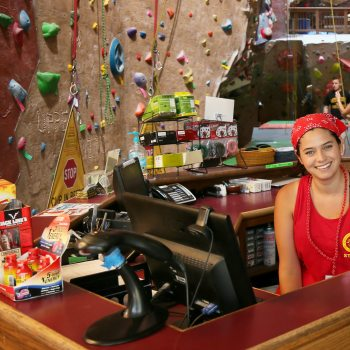 staff friendly at front desk of Upper Limits indoor rock climbing gym downtown st. louis