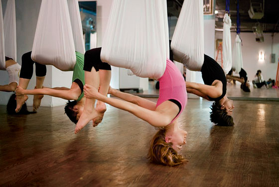 anti gravity yoga classes and exercise at upper limits indoor rock climbing gym in st. louis
