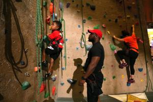 family class climbing at upper limits indoor rock climbing gym st. louis
