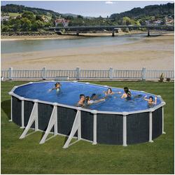 kit piscine hors sol rattan acier aspect rotin ovale 6 renforts 730 x 375 x h132 cm
