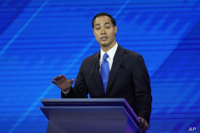 Democratic presidential candidate Julian Castro gives his closing statement during a Democratic presidential primary debate hosted by ABC at Texas Southern University in Houston, Sept. 12, 2019.