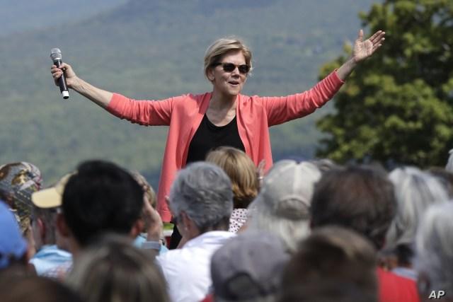 Democratic presidential candidate Sen. Elizabeth Warren, D-Mass., speaks at a campaign event, Aug. 14, 2019, in Franconia, N.H.